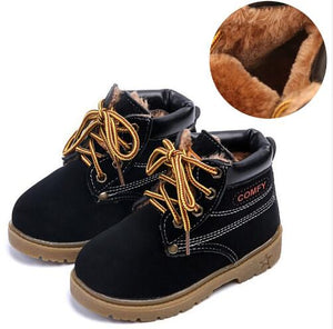 Kids Winter Snow Boots 2016 Children Martin Boots Baby Boys & Girls Rubber littie kids Fashion Plush Thick Warm Leather Shoes