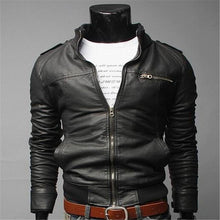 2017 Mens Motorcycyle Leather Jackets And Coat Mandarin Collar Dark Brown Clothing Veste Simili