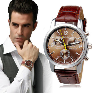 New Men's Watch Luxury Fashion Crocodile Brown Faux Leather Mens Analog Watch Watches Orologio Uomo Dress Wristwatches