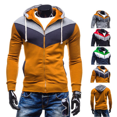 The new 2018 Men's fashion color fleece Long sleeve spell cap fleece in succession