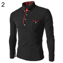 Men England Trendy Wave Point Self-Cultivation Long Sleeved Tide Polo Shirt Top Summer Discount Summer Discount