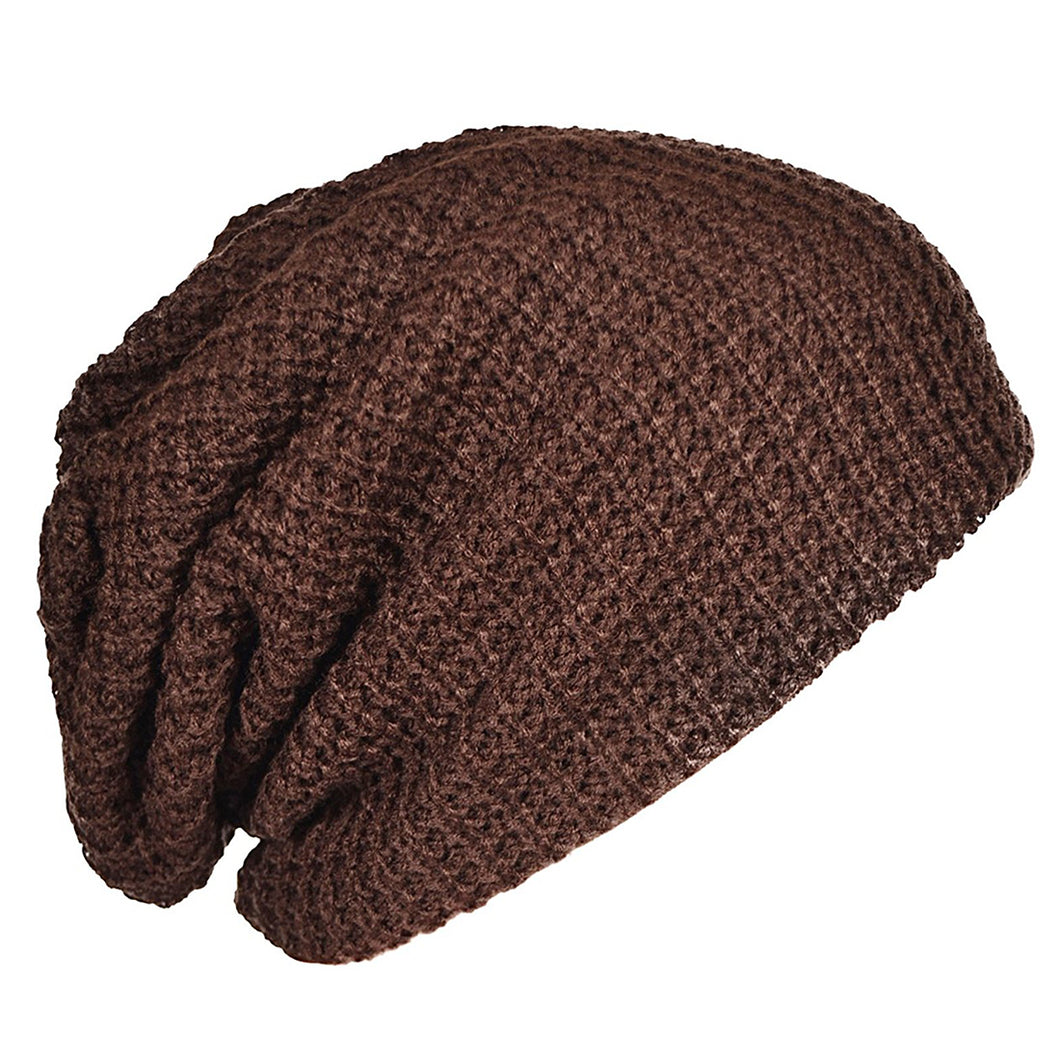 Mens Slouchy Long Beanie Knit Cap for Summer Winter Oversize brown