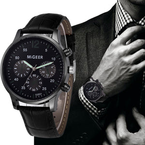 MIGEER 2018 Luxury Brand Men Watches Relogio Masculino Retro Design Leather Band Analog Alloy Quartz Wrtz Wrist Watch erkek saat