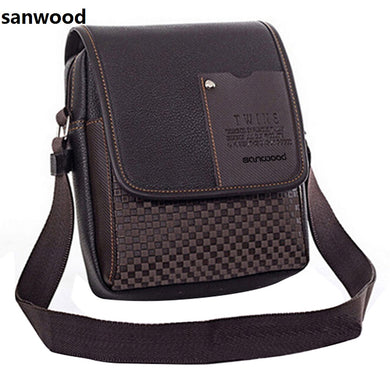 2016 Portable Men's Faux Leather Grid Cover Briefcase Crossbody Messenger Shoulder Bag  9IGF