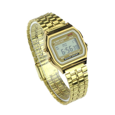 Business Golden Gold Watch Coperation Vintage Womens Men Dress watch Stainless Steel Digital Alarm Stopwatch Wrist Watch F70
