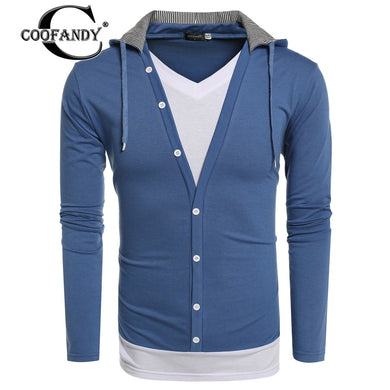 COOFANDY Fashionable  Men Sweatshirt New Arrivals Male Clothes V Neck Long Sleeve Patchwork Pullover Hoodie