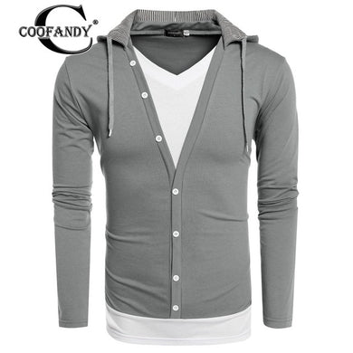 COOFANDY Fashionable  Men Sweatshirt New Arrivals Male Clothes V Neck Long Sleeve Patchwork Pullover Hoodie Free Shipping