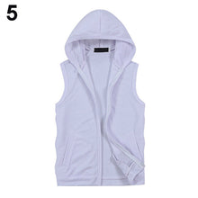 Fashion Men Summer Sleeveless Zip Fitness Casual Hooded Vest Outwear