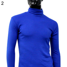Men Fashion Winter Warm Polo Neck Solid Color Pullover Slim Sweater Jumper Top