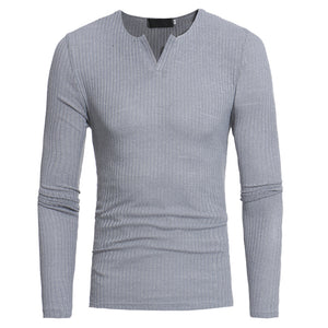 Mens Casual Fashion Warm V Collars Elastic Top Long Sleeve All-match Sweater