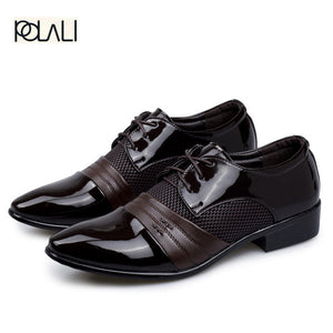 POLALI Men Dress Shoes Plus Size 38-47 Men Business Flat Shoes Black Brown Breathable Low Top Men Formal Office Shoes
