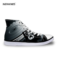 INSTANTARTS Cool Men's Black High Top Vulcanized Shoes Fashion Loundspeaker Men Casual Lace Up Canvas Shoes Male Students Flats