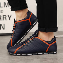 Fashion Men Flats Leather Loafers Black Driving Casual Shoes Sneakers Comfortable Trainers Lace Up Chaussure Homme Size 38-45