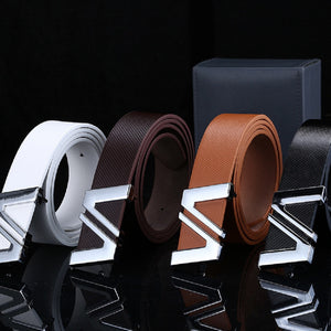 2018 New Men Automatic Letter Buckle Leather Waist Strap Belts Buckle Belt cintos masculinos de couro luxo