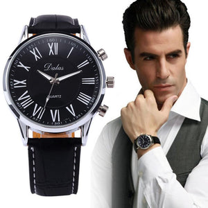 New Luxury Mens Whatch Faux Leather Band Stainless Steel Round Case Analog Quartz Wrist Watch Black Fashion Casual Clock 2018