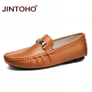 JINTOHO Summer Breathable Men Casual Shoes Fashion Male Shoes High Quality Men Genuine Leather Shoes Slip On Men Leather Loafers