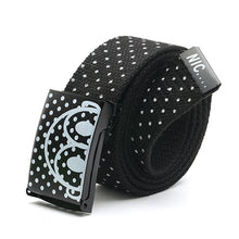 Fashion Mens Canvas Waist Belts Smooth Buckle Polka Dots Waistband Straps Belt