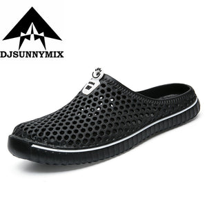 DJSUNNYMIX 2018 Summer Slippers Men Hollow Out Breathable Beach Flip Flops Unisex Casual Slip-on Flats Sandals Men Shoes size 45