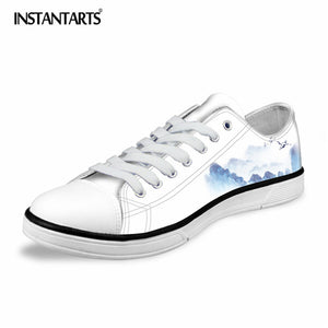 INSTANTARTS Classic White Vulcanize Shoes Men's Fashion Low-top Canvas Shoes for Teens Boys Comfortable Lace Up Lazy Shoes Man