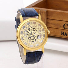 Men Watch Stainless Steel Hollow Dial Clock Fashion Analog Quartz Wirst Watch Roman Numerals Leather Band Sport Watches relogio*