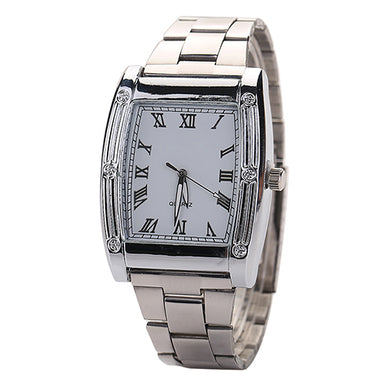 Fashion Mens Stainless Steel Band Square Business Quartz Analog Wrist Watches  8HPS