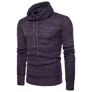 Male Sweater Pullover Men 2018 Male Brand Casual Slim Sweaters Men Solid High Lapel Jacquard Hedging Men'S Sweater plus size HOT
