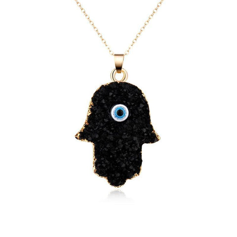 Black Evil Eye Hamsa Hand Necklace - lola wolfe | handmade jewelry designs