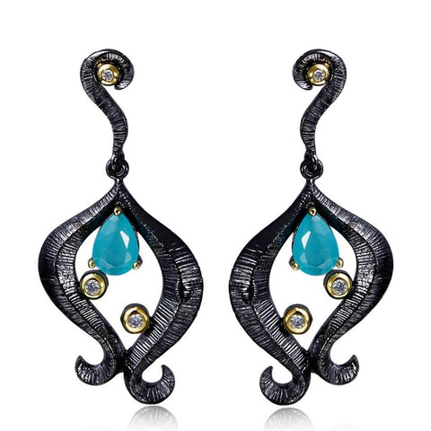 Teal Statement Earrings - lola wolfe | handmade jewelry designs