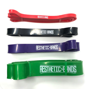 Set of 4 Long Loop Resistance Bands (15-125lbs) Red, Black, Purple, Green