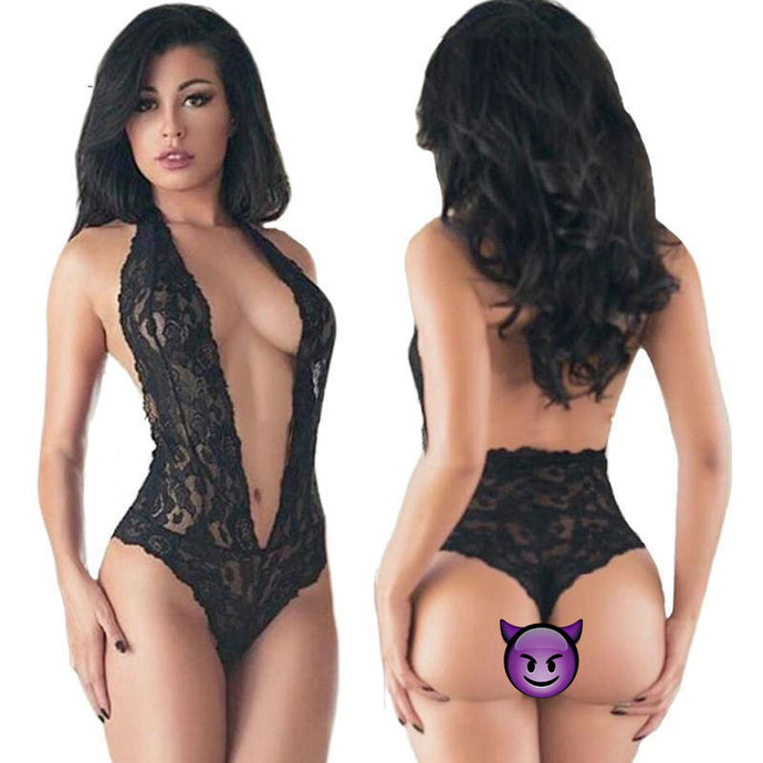 Katarina Lace Black Halter Teddy