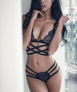 Dark Desires Strappy Lace Bralette & Panty Set
