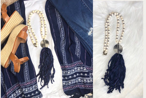 Navy Sari Silk Tassel Necklace