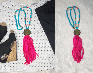 Sari Silk Tassel Necklace