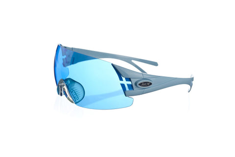 Shooting glasses double temple tip blue pastel