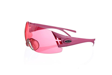 Shooting glasses double temple tip pink