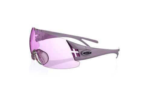 Shooting glasses double temple tip lilac