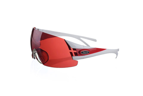 Shooting glasses double temple tip white/red