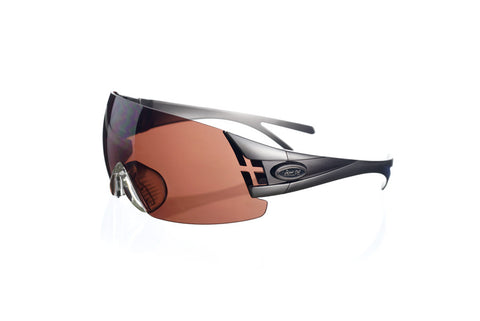 Shooting glasses double temple tip warm grey