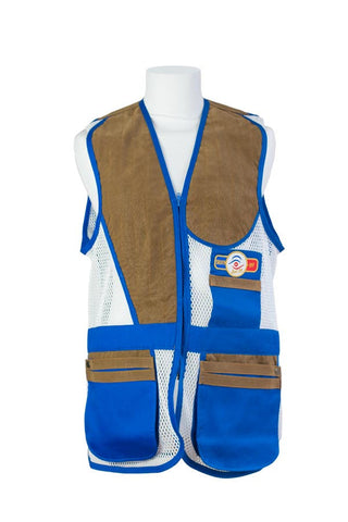 sporting shooting vest azure blue & white mesh