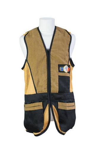 sporting shooting vest black & gold mesh