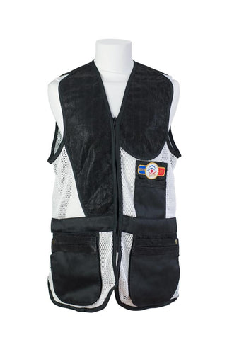 sporting shooting vest black & white mesh