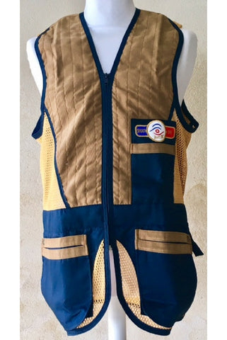sporting shooting vest navy & gold mesh