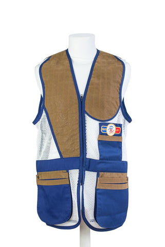 sporting shooting vest navy blue & white mesh