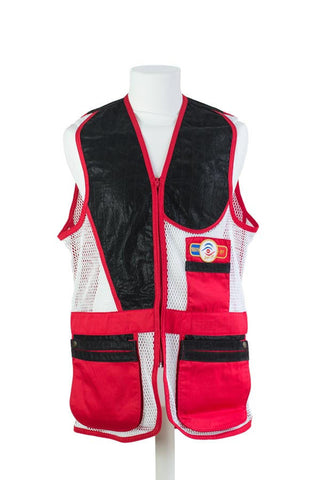sporting shooting vest red & white mesh