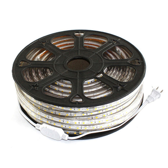 New 50ft 110V 220V ac 50ft Flexible LED Strip Lights 3528 SMD 60 Leds Waterproof  Accessories Included LED Rope Lights white