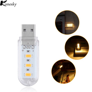1Pcs New Mini USB LED Night light Camping lamp For Reading Bulb Laptops Computer Notebook Mobile Power Charger Warm White