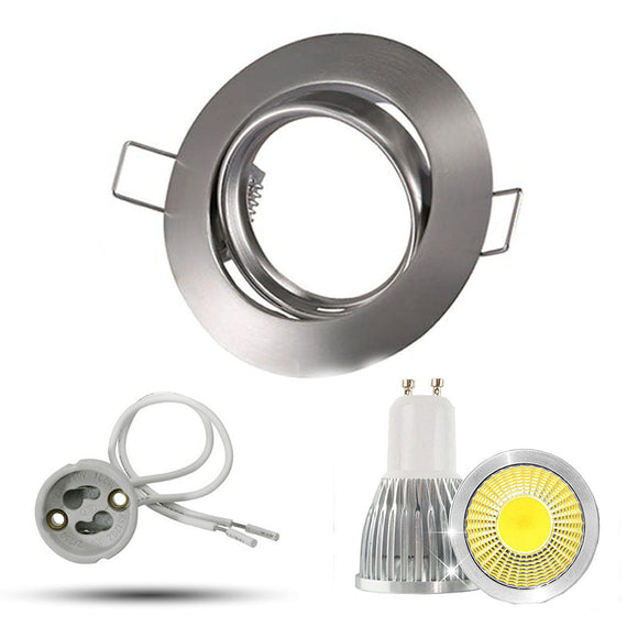 Modern round adjustable Brushed Chrome GU10 Ceiling Downlight Fitting 110V 220V  dimmable led bulbs cob 5W 7W 9W spotlight