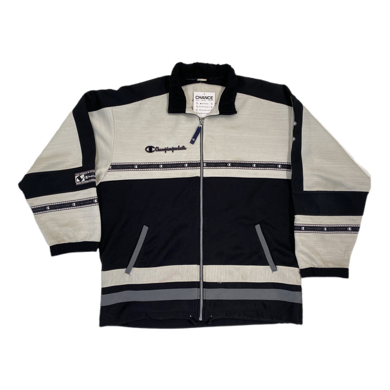 (L) Champion White/Black Athletic Jacket 121720