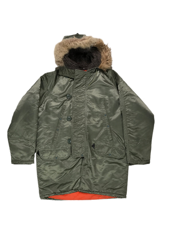 (L) Flying Mans Type N-3B Army Green Sherpa Parka Jacket 030921.