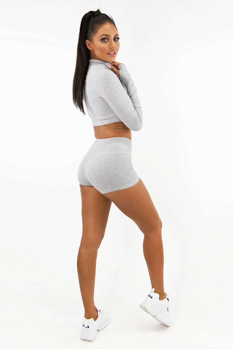 VARSITY BOOTY SHORTS - LIGHT GREY
